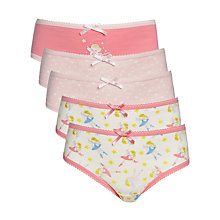 Buy John Lewis Girl Fairy Print Brief, Pack of 5, Pink Online at johnlewis.com