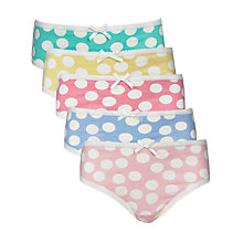 Buy John Lewis Girl Spot Patterned Briefs, Pack of 5, Multi Online at johnlewis.com