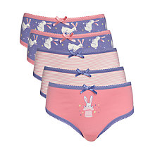 Buy John Lewis Girl Magic Bunny Briefs, Pack of 5, Purple Online at johnlewis.com