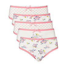 Buy John Lewis Girl Vintage Floral Patterned Briefs, Pack of 5, Cream Online at johnlewis.com