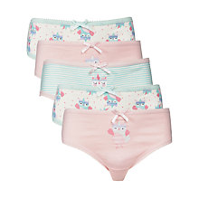 Buy John Lewis Girl Owl Print Briefs, Pack of 5, Multi Online at johnlewis.com
