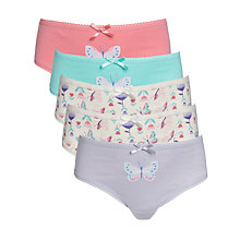 Buy John Lewis Girl Butterfly Print Briefs, Pack of 5, Blue Online at johnlewis.com
