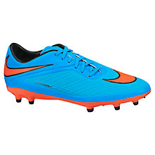 Buy Nike Hypervenom Phelon FG Football Boots, Blue/Orange Online at johnlewis.com