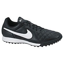 Buy Nike Tiempo Genio Leather Men's TF Football Boots, Black/White Online at johnlewis.com