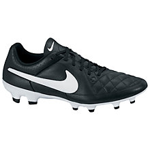 Buy Nike Tiempo Genio Leather Men's FG Football Boots, Black/White Online at johnlewis.com