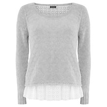 Buy Mint Velvet Embroidered Mesh Jumper, Grey Online at johnlewis.com