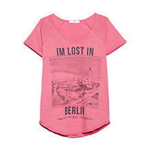 Buy Mango City Print T-Shirt, Medium Pink Online at johnlewis.com