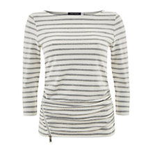 Buy Mint Velvet Stripe Zip Top, Grey Online at johnlewis.com