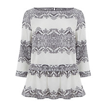 Buy Mint Velvet Wynn Print Peplum Top, Multi Online at johnlewis.com