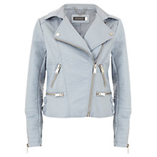 Buy Mint Velvet Faux Leather Biker Jacket, Bluebell Online at johnlewis.com