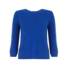 Buy Jigsaw Zip Back Crew Sweater, Bright Blue Online at johnlewis.com