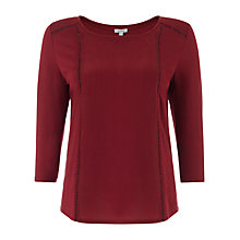 Buy Jigsaw Ladderstitch Panel Top, Dark Red Online at johnlewis.com