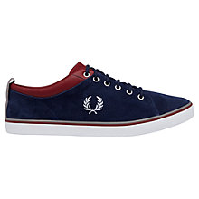 Buy Fred Perry Hallam Canvas Trainers, Blue Online at johnlewis.com