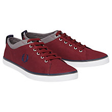 Buy Fred Perry Hallam Canvas Trainers, Maroon Online at johnlewis.com