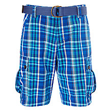 Buy John Lewis Check Belted Cargo Shorts, Navy Online at johnlewis.com