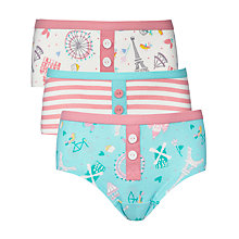 Buy John Lewis Girl Paris Patterned Hipster Briefs, Pack of 3, Turquoise/Pink Online at johnlewis.com