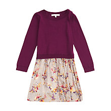 Buy Jigsaw Junior Girls' Woven Knit Floral Dress, Purple Online at johnlewis.com