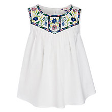 Buy John Lewis Girl Embroidered Yoke Swing Top, White Online at johnlewis.com