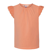 Buy John Lewis Girl Broderie T-Shirt, Orange Online at johnlewis.com
