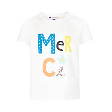Buy John Lewis Girl Merci T-Shirt, White Online at johnlewis.com