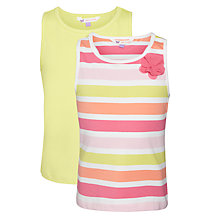 Buy John Lewis Girl Twin Peak Vest, Pack of 2, Yellow/Pink Online at johnlewis.com