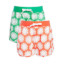 Buy John Lewis Girl Print Jersey Shorts, Pack of 2, Orange/Green Online at johnlewis.com