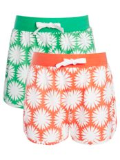 John Lewis Girl Print Jersey Shorts, Pack of 2, Orange/Green