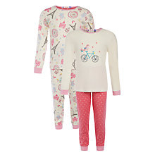 Buy John Lewis Girl Paris Travel Pyjamas, Pack of 2, Cream/Pink Online at johnlewis.com