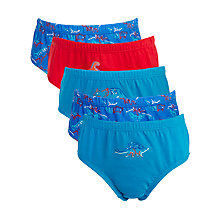 Buy John Lewis Boy Dino Briefs, Pack of 5, Multi Online at johnlewis.com
