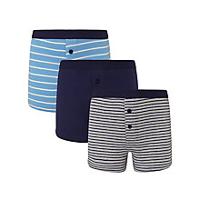 Buy John Lewis Boy Plain And Stripe Boxers, Pack of 3, Blue/Multi Online at johnlewis.com