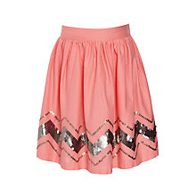 Buy John Lewis Girl Zig Zag Sequin Skirt, Coral Online at johnlewis.com