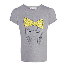 Buy John Lewis Girl Bow Tie T-Shirt, Grey Online at johnlewis.com