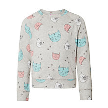 Buy John Lewis Girl Cat Print Sweatshirt, Grey Online at johnlewis.com