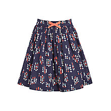 Buy John Lewis Girl Floral Block Pattern Cotton Skirt, Navy Online at johnlewis.com