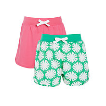 Buy John Lewis Girl Jersey Shorts, Pack of 2, Green/Pink Online at johnlewis.com