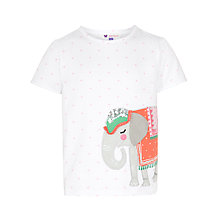 Buy John Lewis Girl Elephant T-Shirt, White Online at johnlewis.com