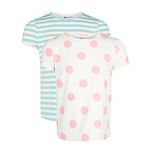 Buy John Lewis Girl Spot & Stripe T-Shirt, Pack of 2, Coral/Blue Online at johnlewis.com