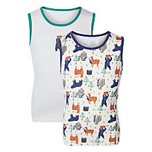 Buy John Lewis Boy Gorilla Print Vest, Pack of 2, Cream/Multi Online at johnlewis.com