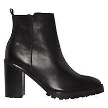 Buy Whistles Cleated Block Leather Ankle Boots, Black Online at johnlewis.com