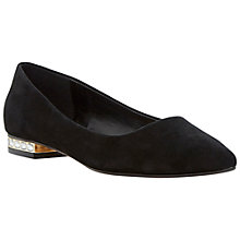 Buy Dune Abbie Jewelled Heel Pointed Pumps, Black Suede Online at johnlewis.com