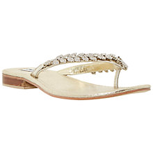 Buy Dune Kindy Diamanté Toe Post Sandals, Champagne Online at johnlewis.com