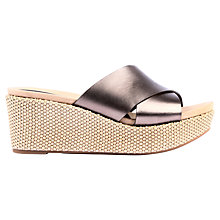 Buy Unisa Kora Wedged Leather Sandals, Natural Online at johnlewis.com