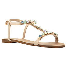 Buy Dune Natallie Jewel Embellished T-Bar Leather Sandals, Nude Online at johnlewis.com
