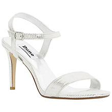 Buy Dune Mallorie High Heel Sandals, Reptile Silver Online at johnlewis.com