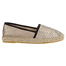 Buy Jigsaw Lottie Leather Espadrille Wedges, Gold Online at johnlewis.com
