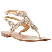 Buy Dune Karper Leather Beaded Toe Post Sandals, Nude Online at johnlewis.com