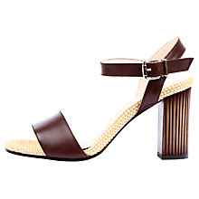 Buy Unisa Virginia Block Heel Leather Sandals, Brown Online at johnlewis.com