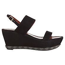 Buy Jigsaw Sara Suede Wedge Sandals, Black Online at johnlewis.com