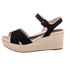 Buy Unisa Kenti Wedged Suede Sandals, Black Online at johnlewis.com