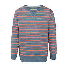 Buy John Lewis Boy Stripe Crew Neck Top, Navy/Coral Online at johnlewis.com